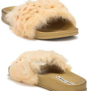 NEW! Chase & Chloe Gold Color Furry Faux Fur Slide